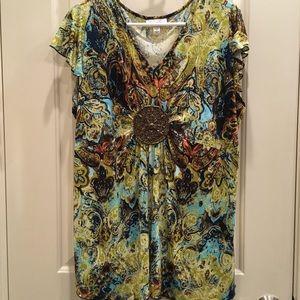 Beaded Focal Point Bright Print Dress Barn Blouse